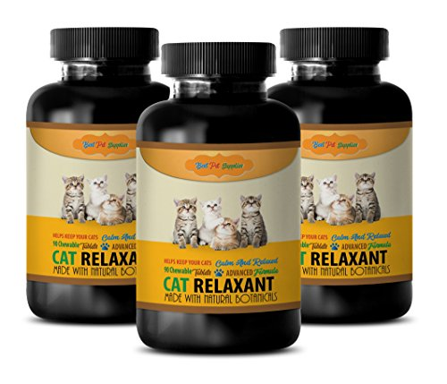 BEST PET SUPPLIES LLC calming cat treats - CAT RELAXANT - NATURAL BOTANICALS - KEEPS CATS CALM AND RELAXED - CHEWABLE - aggressive cat calming diffuser - 3 Bottle (270 Chews)