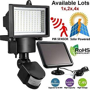 Safekom 100 LED Solar Powered PIR Motion Sensor Flood Light Home Security Floodlight Garden Patio Wall Outdoor Lamp