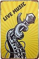 ヴィンテージメタルティンサインインチ、ライブミュージック、バークラブカフェファームの家の装飾アートポスターに適しています
