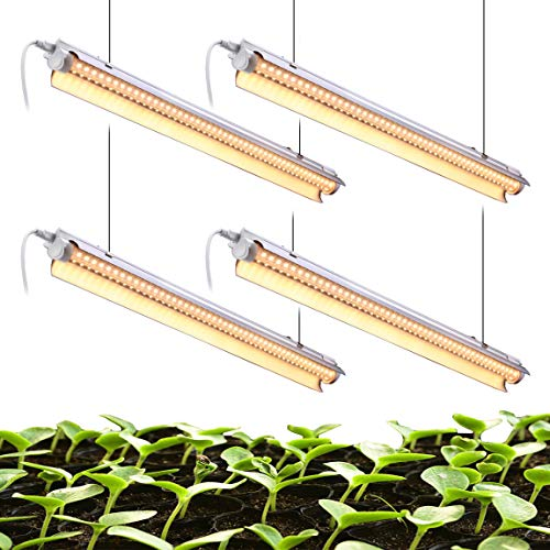 White Light Full Spectrum LED Grow Light, 2FT 2-Row V-Shape T8 Integrated Growing Lamp Fixture for Indoor Plants, Greenhouse Light with ON/Off Switch Plug and Play, Pack of 4 (24W x 4)