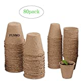 Funmo Vasi biodegradabili - 80 vasi per piantare Fibre per piantine, Piante infestanti, Pi...
