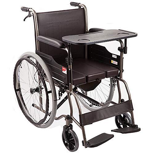 Rolstoel, stalen buisframe met zachte kunstlederen rugleuning, afneembare eettafel, uittrekbare pot, opvouwbare Potty rolstoel, 24 inch rolstoel A