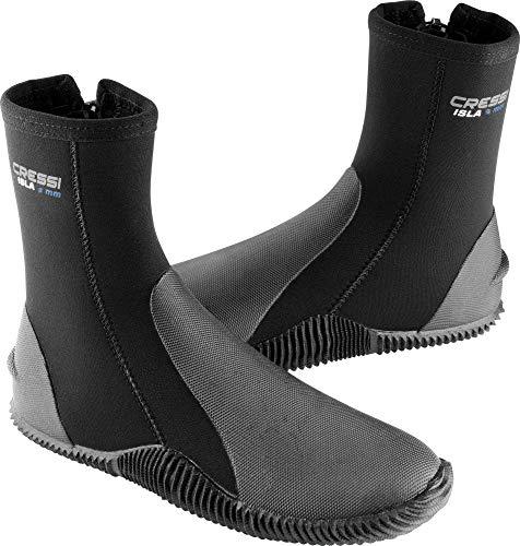 Cressi Isla Boots - Premium Neopren Füßling Für Geräteflosse - Sohle Anti-rutsch, Schwarz/Logo Blau, XL - 44/45