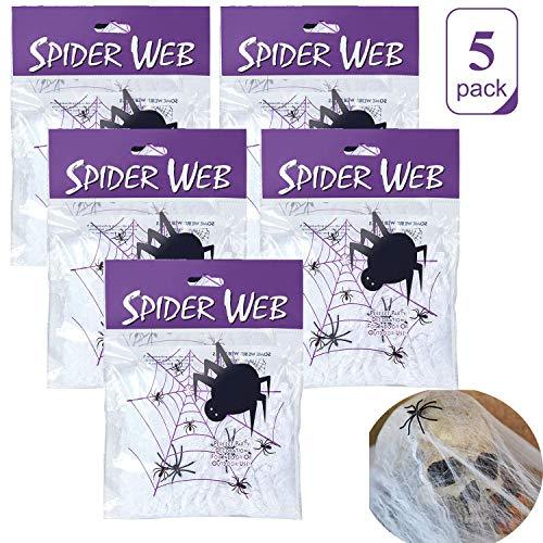 Eholder Halloween Deko Spinnennetz Set Weiß, Dehnbare Künstliche Spinnweben, Spinnennetze Halloween Dekoration Gruselig, Spinnenseide mit 2 schwarzen Spinnen (100g)