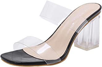 $29 Get Sanyyanlsy Women Rome Clear Perspective Band Slippers Clear Mid Chunky Block Heel Slides Slippers Indoor Outdoor Wear