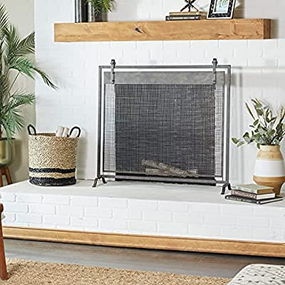 Deco 79 84245 Iron Mesh Fireplace Screen, Black by Deco 79