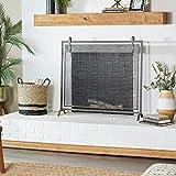 Deco 79 84245 Iron Mesh Fireplace Screen, Black
