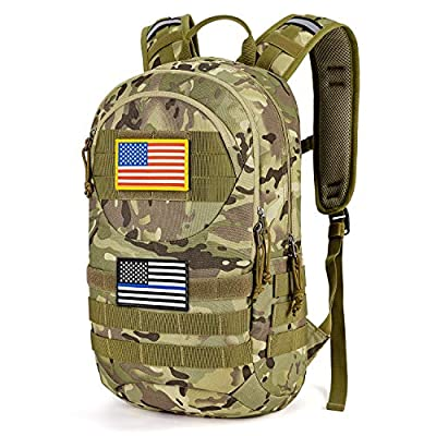 Gelindo Hydration Pack Backpack, Tactical MOLLE Backpacks 900D with 2L Water Bladder, Lightweight Hiking Pack with Therminal Insulation Layer, Outdoor Gear for Hunting Climbing