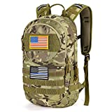 Gelindo Hydration Pack Backpack, Tactical MOLLE Backpacks 900D with Quick-release 2L Water Bladder, Lightweight Hiking Daypack with Therminal Insulation Layer, Outdoor Gear for Hunting Biking Climbing