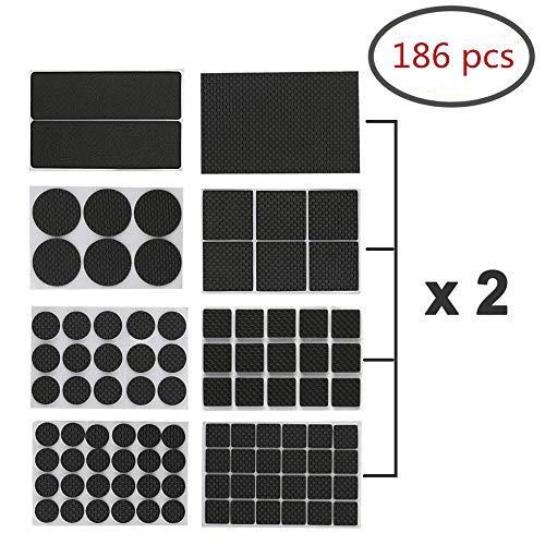 Selbstklebende Anti-Rutsch-Möbel-Pads, 186 Stück, verschiedene Größen und Formen, strapazierfähiges Gummi, für Stuhl- und Tischbeine, Filz-Bezüge zum Schutz von Bodenbrettern und Holzböden
