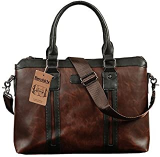 Pu Leather Laptop Bag Berchirly Business Bag Briefcase Detachable Shoulder Strap Coffee