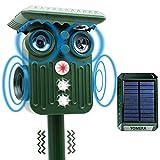 Solar Ultrasónico Repelente, Impermeable Repelente para Gatos 5 Modo Ajustable, Carga Solar y USB, con Sensor IR de frecuencia LED, para Alejar Ratones, Perros, Pájaros, Zorros