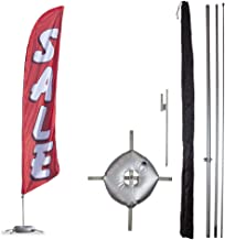 Vispronet Premium Sale Feather Flag Kit – Includes 13ft Sectional Aviation Grade Fiberglass Poles, Red Sale Flag, Cross Base, Weight Bag, Ground Spike, and Pole Sleeve Bag