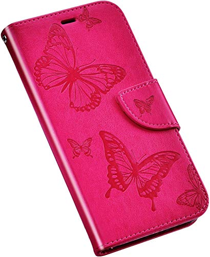 QPOLLY Cover Compatibile con Nokia 4.2, Custodia Farfalla Disegni Pelle PU Portafoglio Libro Flip 360 Gradi Chiusura Magnetica Protettiva Cover con Porta Carte Funzione Supporto,Rosa Rossa
