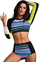 Plus Size Women's Rash Guard Tankini Swimsuit Set Long Sleeve Crop Top & High Waisted Tummy Control Bottom Multi-Color StripedX-Large (fits Like US 14-16)