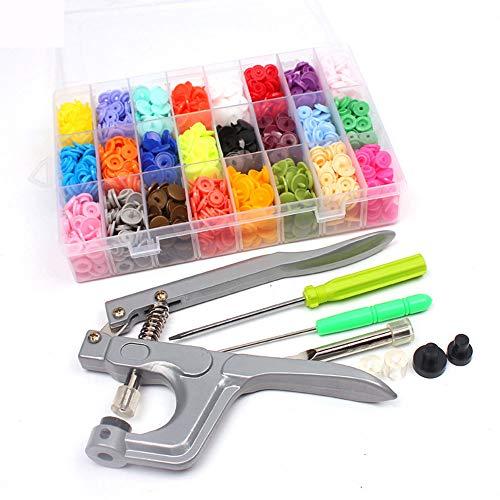 Juego de botones a presión, 360 broches con alicates de broche, organizador de sujetadores para coser y manualidades (24 colores, alicates para T5) #NKGJ-09A
