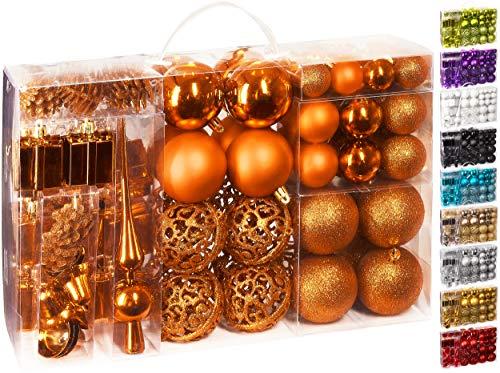 Brubaker Set di 101 Accessori Decorativi per L'Albero di Natale - addobbi Natalizie in Color Arancia - Diverse Forme di Palline ed Un Puntale per Albero di Natale