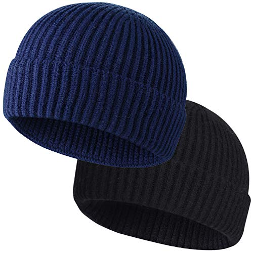 ROYBENS 2pcs Swag Wool Fisherman Beanies for Men, Knit Short Watch Cap Winter Warm Hats,G