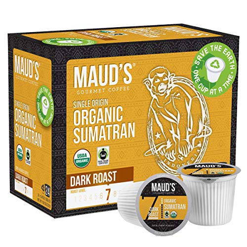 Maud's Organic Sumatra Coffee (Organic Dark Roast Coffee), 24ct. Recyclable Single Serve Fair Trade Single Origin Sumatra Coffee Pods - 100% Arabica Coffee, Sumatra Coffee K Cups Compatible