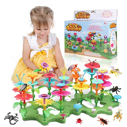 Lydaz Flower Garden Building Toys for Girls,Birthday Gift for Toddlers Building Block Toys,Indoor Education STEM Preschool Activities and Gardening Pretend Playset for Kids 3 4 5 6 Years Old-109PCS