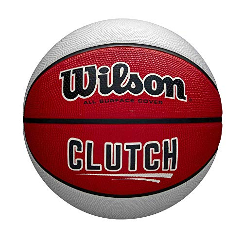 WILSON Unisex-Adult Clutch Basketball, Rot/Weiß, 7