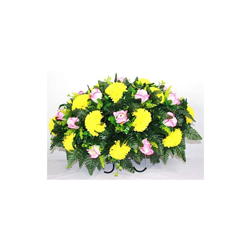 xl spring mixture artificial silk flower cemetery tombstone grave saddle