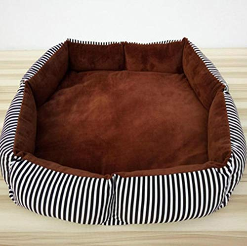 Dog Bed for Small Medium Dogs, Washable Pet Bed Sofa Soft Coral Fleece Warm Dog Basket Cats Bed-Zebra Striped Coffee Inside_130*90