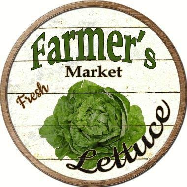 Bargain World Farmers Market Lettuce Novelty Metal Circular Sign (Sticky Notes)