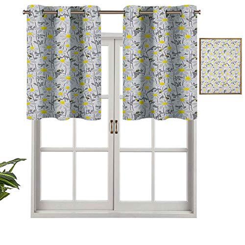 Hiiiman Cortinas cortas opacas con patrón de ojales con abejas y margaritas de manzanilla en floreciente prado, juego de 2, cenefas pequeñas de media ventana de 137 x 60 cm para cocina