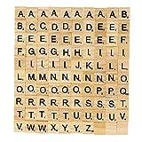 ULTNICE 100 piezas de madera letras de madera Scrabble Azulejos A-Z Mayúsculas Juguete educativo para manualidades, colgantes de ortografía alfabeto posavasos hacer
