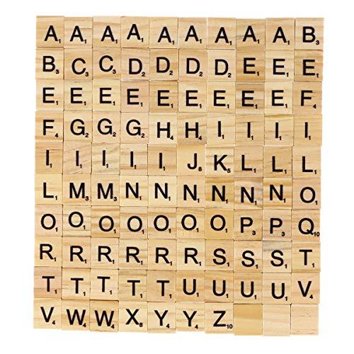Supvox 100 Piezas Azulejos de Letras de Madera Azulejos de Scrabble A-Z Letras Mayúsculas Juguete Educativo para Manualidades de Bricolaje Colgantes Ortografía Alfabeto Posavasos