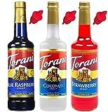 Torani Syrup Snow Cone 3 Pack, Strawberry, Blue Raspberry, Coconut Plus 3 Pour Spouts
