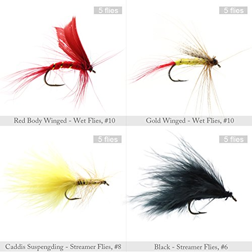Croch 120 Pcs Fly Fishing Dry Flies Wet Flies Assortment Kit with Waterproof Fly Box for Trout Fishing