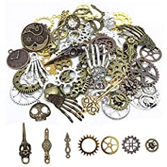 Quantity: 104g. Includes ornaments of different shapes, such as gears, skulls, musical notes, skull hands, safety pins, and owls. Material: These antique jewelry accessories are made of high-quality metal, completely lead-free, sturdy and durable. Co...