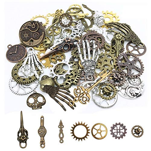 Quantity: Includes ornaments of different shapes, such as gears, skulls, musical notes, skull hands, safety pins, and owls. Material: These antique jewelry accessories are made of high-quality metal, completely lead-free, sturdy and durable. Color: M...