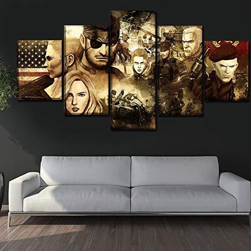 HOMOPK 5 Canvas afbeelding afbeelding spel rolle snake 5-delig muurschildering achtergrond muur schilderij behang druk poster keuken decor poster gift 20x35cmx2 20x45cmx2 20x55cmx1 frame.
