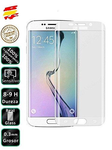 Movilrey Protector para Samsung Galaxy S7 Edge Color Blanco Completo 3D Cristal Templado de Pantalla Vidrio Curvo para movil