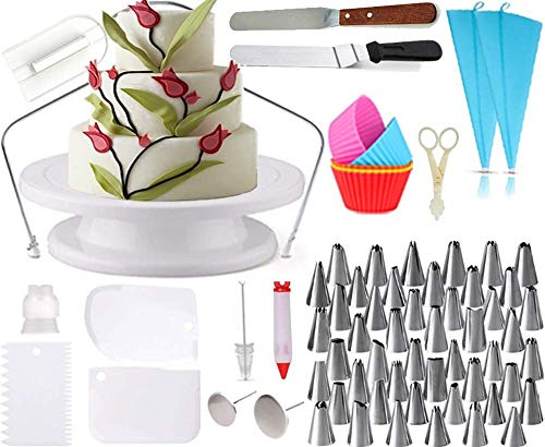 All-in-One Cake Decorating Supplies. Decorate Cakes, Cupcakes, Cookies or Pastry | 48 Icing Tips | 5 Silicon Cupcake Molds |...