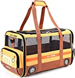 Lekesky Pet Carrier Bag Dog Carrier Cat Carrier Soft-sided Puppy Carrier with Three Openings Washable Mat and Leash Attachment Pet Carrier for Kittens or Puppies Collapsible Airline Approved, Orange