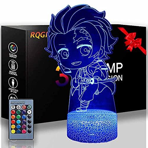 3D Nachtverlichting voor Kids Demon Slayer Kamado Tanjirou 16 Kleuren Veranderende Afstandsbediening, Verjaardagscadeaus…