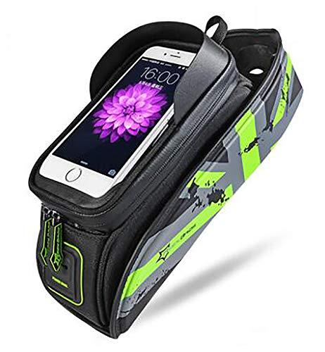 LJWLZFVT ,Bolsas de Bicicleta (6.5 Pulgadas) Bolsa para Cuadro Bicicleta con o sin Soporte Movil Bici Impermeable Y Soporte GPS Bicicleta,-5.8 Pulgadas de Verde 29x8x15cm