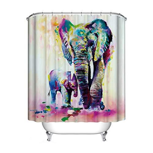 JMAHM Duschvorhang mit Tiermotiv, wasserdicht, schimmelresistent, Polyestergewebe, Duschvorhang-Set, Badzubehör (71 x 71 cm, bunt, Elefant)