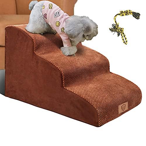 Masthome Hundetreppe mit 3 Stufen, Schaumstoffleiter für Hunde und Katzen bis zu 13 kg – abnehmbarer Bezug, Senden Sie Haustierspielzeug