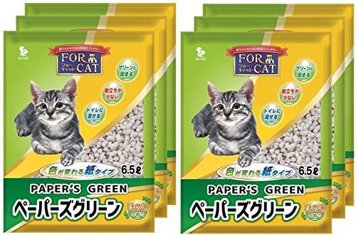 新東北化学工業 猫砂 ペーパーズグリーンひのきの香り 6.5L×6個 (ケース販売)