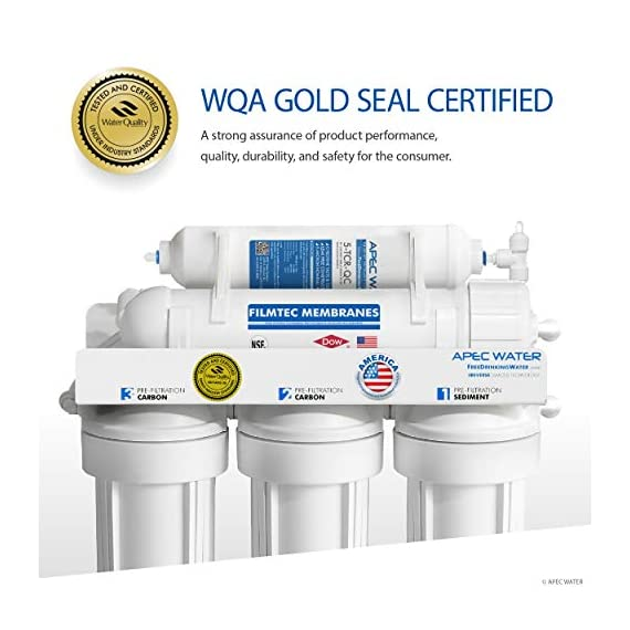 APEC Water Systems RO-90 Ultimate Series Top Tier Supreme Certified High Output 90 GPD Ultra Safe Reverse Osmosis… 4 Enjoy unlimited ultra-fresh, clean, great tasting water right at home. Save money, time and hassle of buying costly, bottled water Designed, engineered and assembled in USA, RO-90 is the most durable system in the industry to guarantee water safety & your health Tested and certified by WQA to remove up to 99% of contaminants including arsenic, chlorine, lead, fluoride, heavy metals, virus and 1000+ contaminants