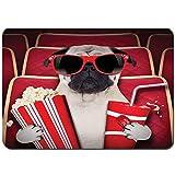 YANAIX Tapis de Bain,Funny Dog Watching Movie Popcorn Boisson gazeuse et Lunettes Photographie d'animaux,Lavable de Haute qualité Absorbant Antidérapant 75X45cm