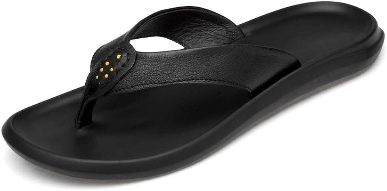 Selling Herren Leder Herringbone Sandalen und Hausschuhe, Herren Flip-Flops, Sommer Casual Sandalen, Outdoor Sports Sandalen, Mode Prise Strandschuhe,schwarz,40