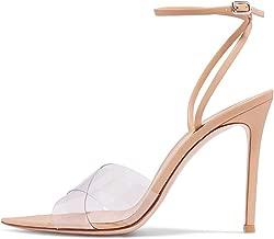 FSJ Women Clear Peep Toe Cross PVC Band Stiletto High Heel Ankle Strap Slingback Dress Sandals Size 4-15 US