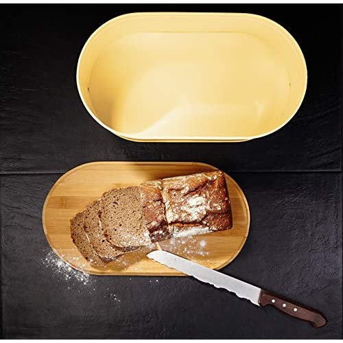 Lumaland Cuisine Bread Bin with Bamboo Lid - Yellow Sand