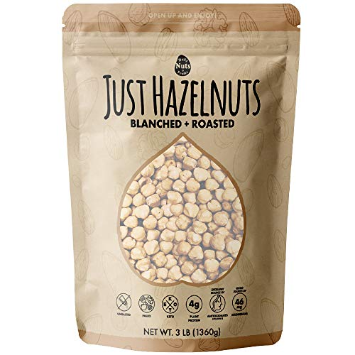 Blanched / Roasted Hazelnuts 3 LB |UNSALTED| FILBERTS | NO SKIN | KOSHER | CERTIFIED GLUTEN FREE | NON-GMO | PALEO